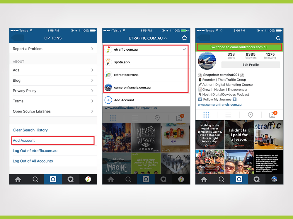 Instagram account switching feature on Android