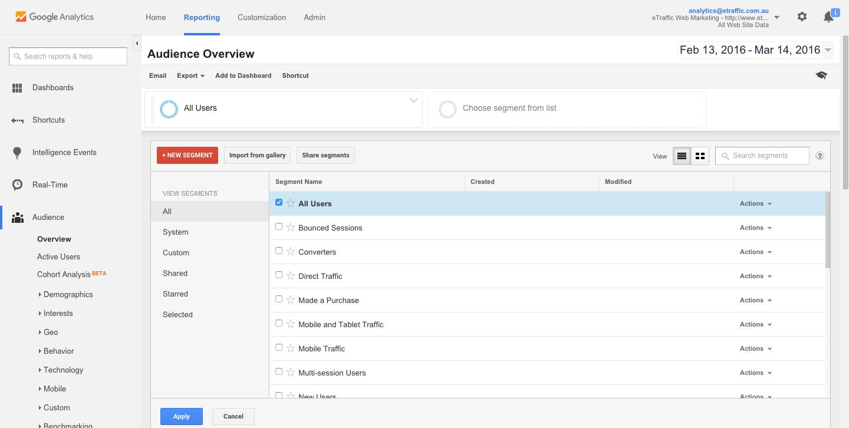 Google Analytics Segment