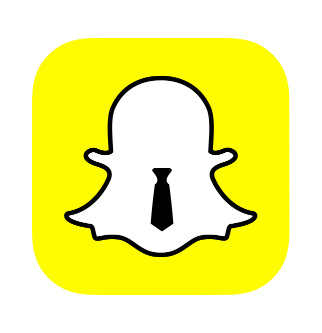 Snapchat logo with business tie