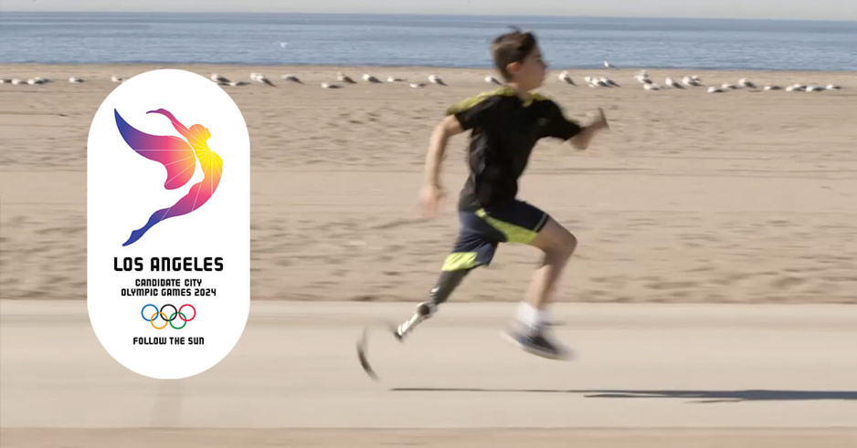 boy running with LA Olympics candidate logo