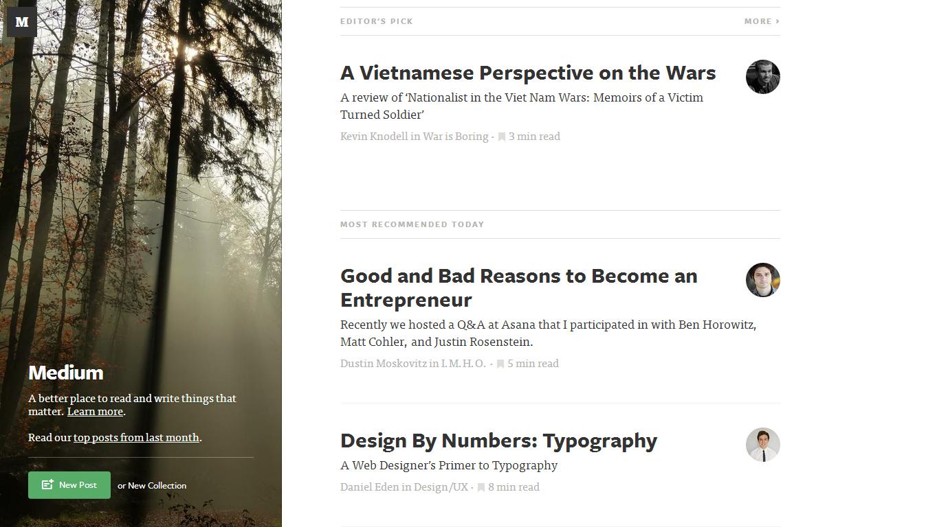 Medium - a blog publishing platform
