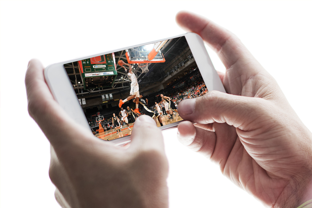 basketball game watched on mobile