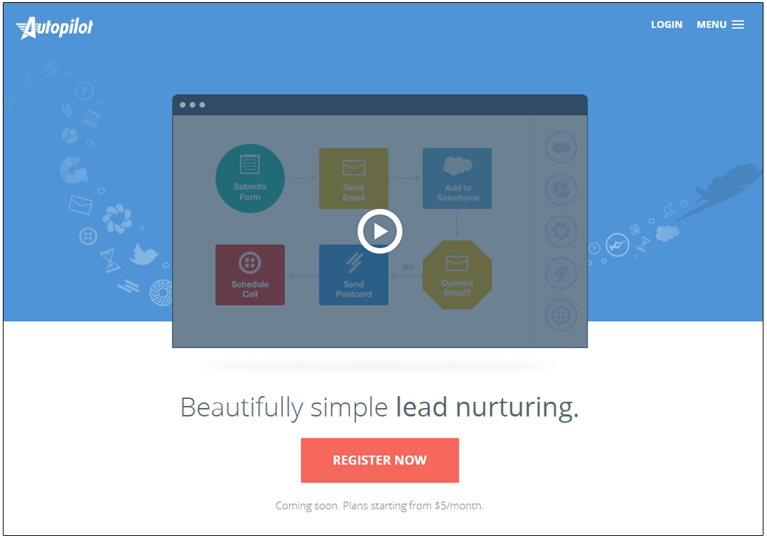 landing page with video