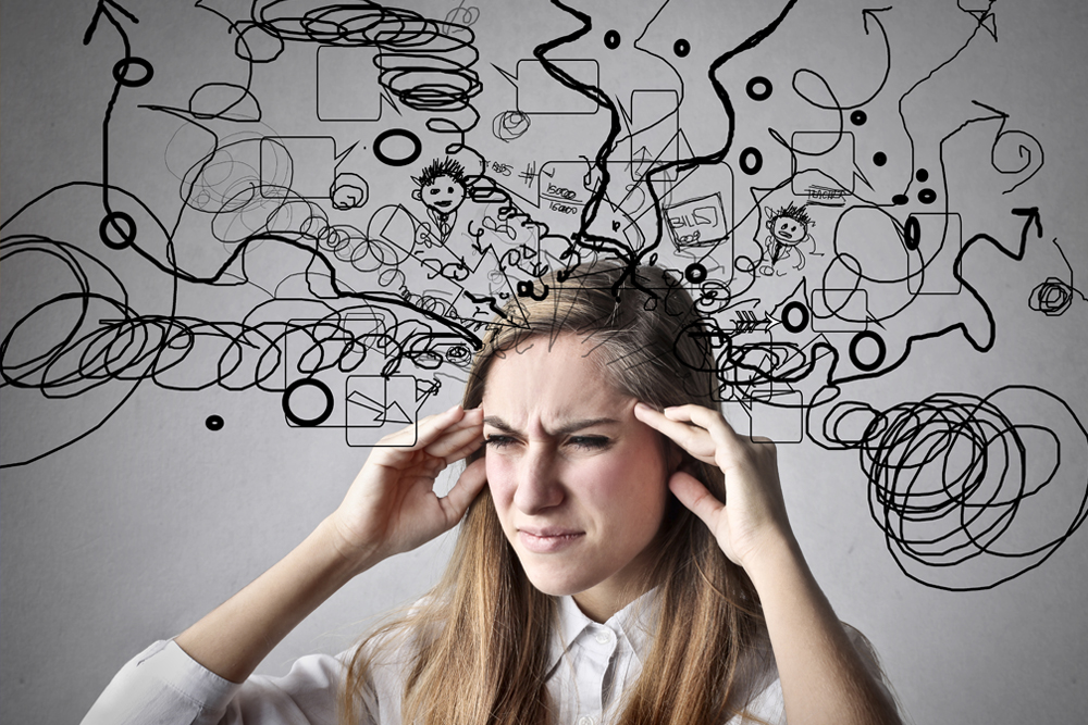 woman with too much information on mind