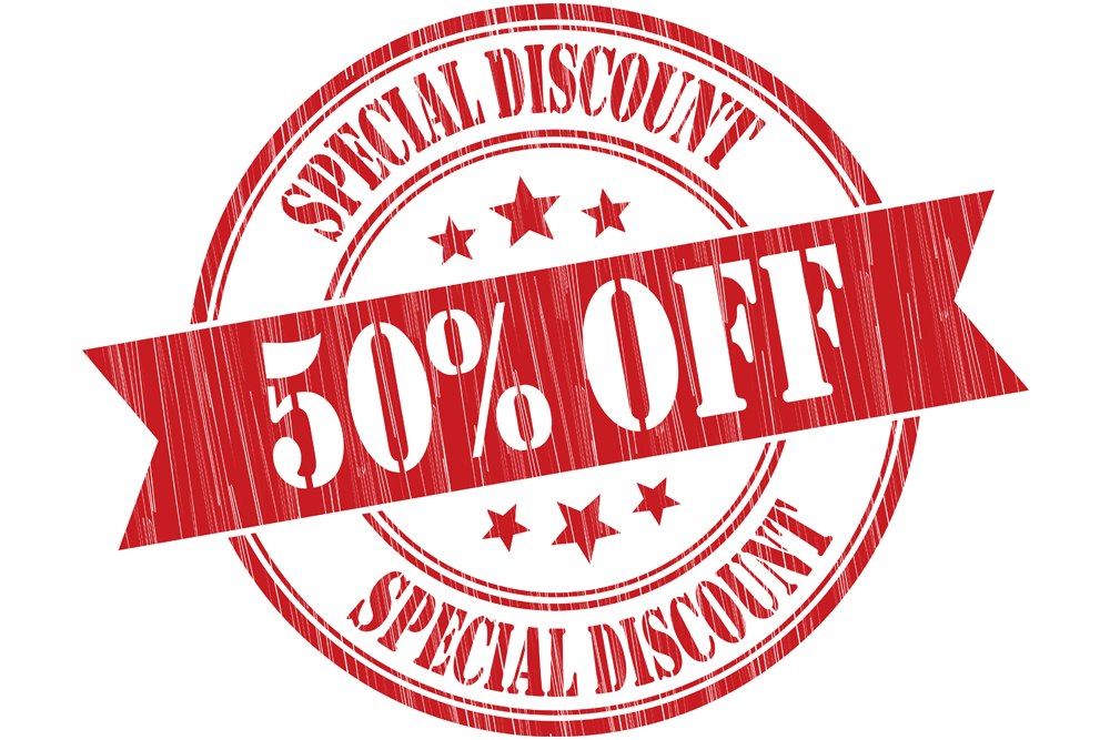 50 percent off special discount sign