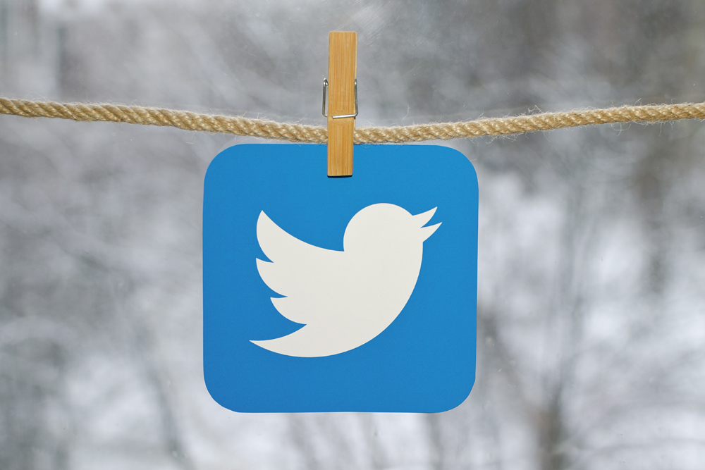 Twitter clipped on clothesline