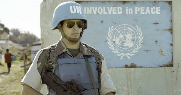 a UN armed personnel - helmet and message gone wrong
