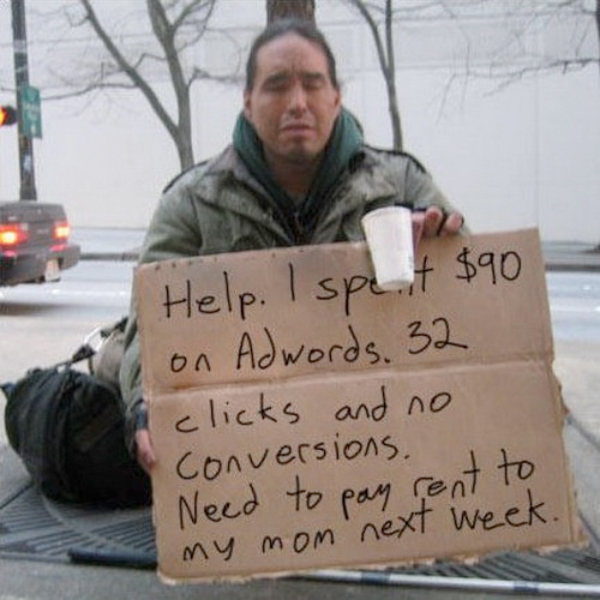 beggar message with Google AdWords