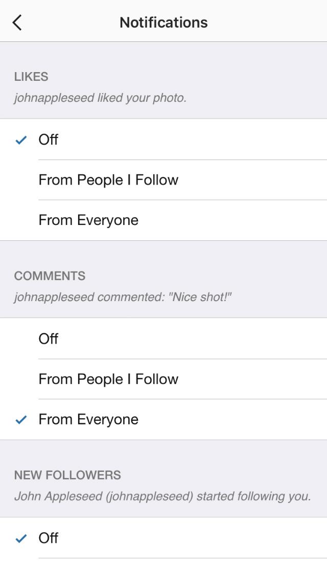 Instagram push notifications