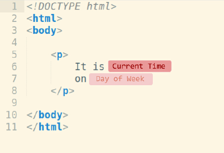html with current time code