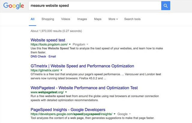 measure website speed Google search