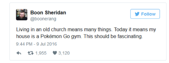 Pokemon Go gym user tweet