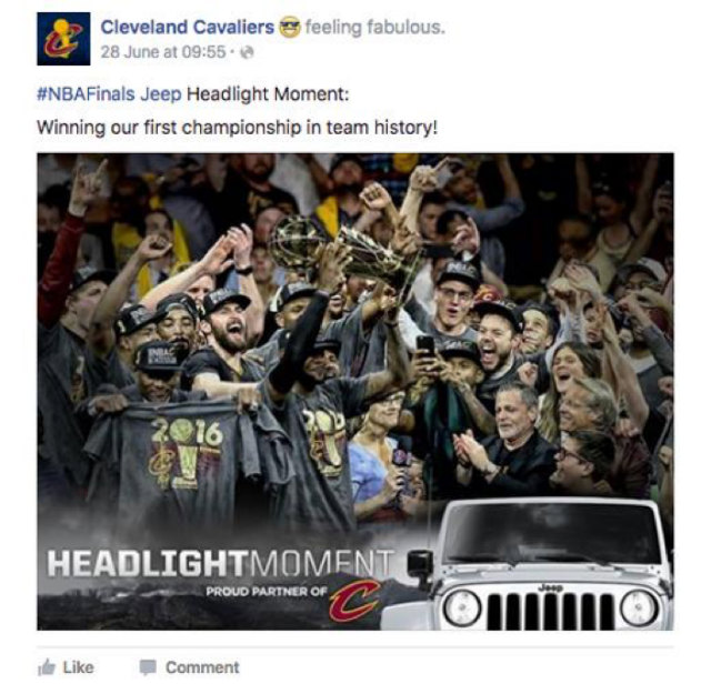 Cleveland Cavaliers championship Facebook update