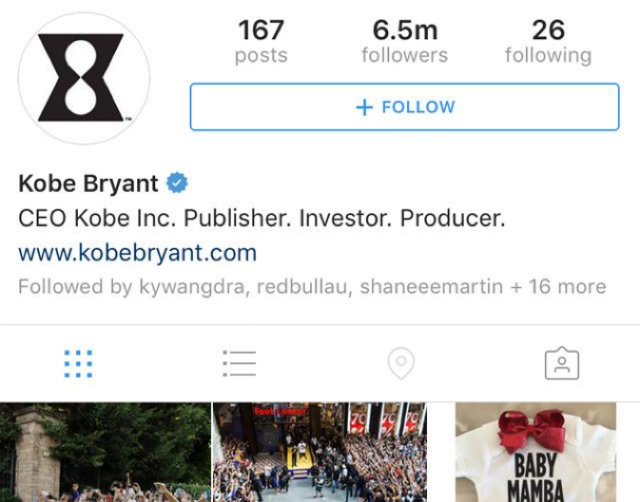 Kobe Bryant Instagram account