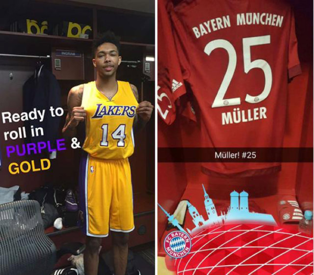 LA Lakers and Bayern Munich Snapchat