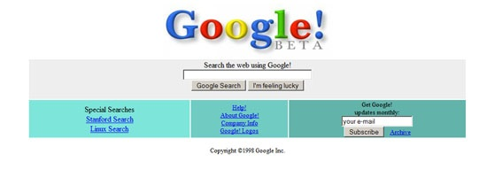 Google Search Page in 1998