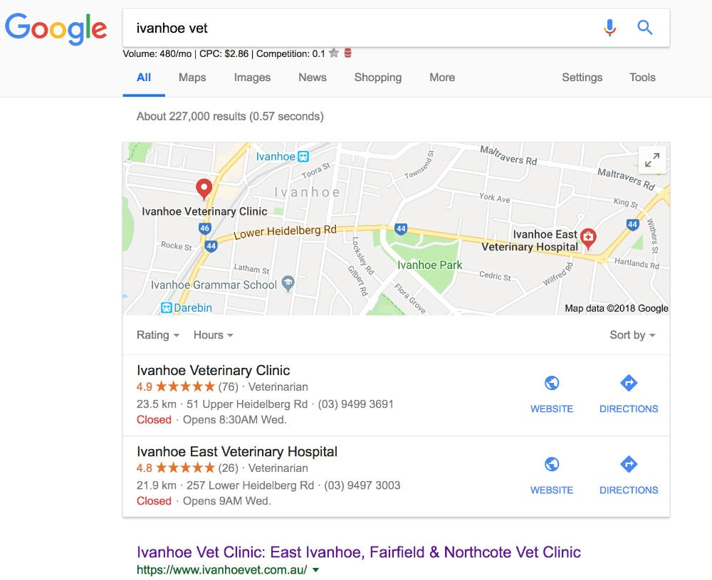 Google Maps Rankings for Ivanhoe Vet