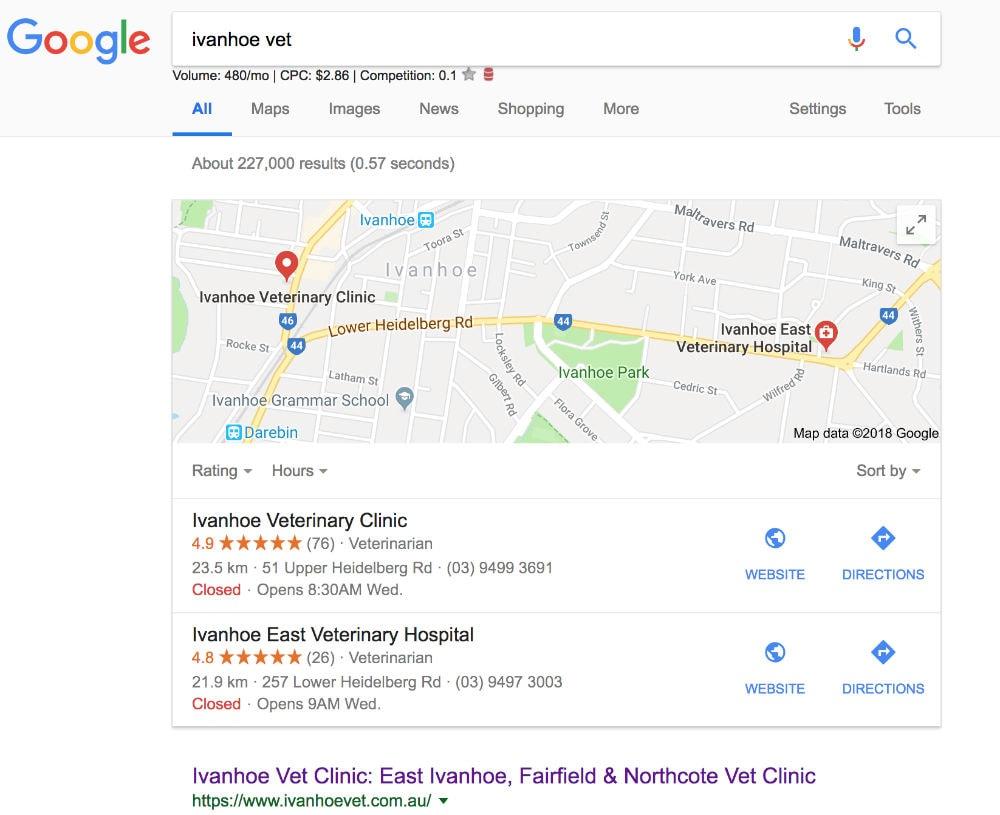 Google Maps Rankings for Ivanhoe Vet