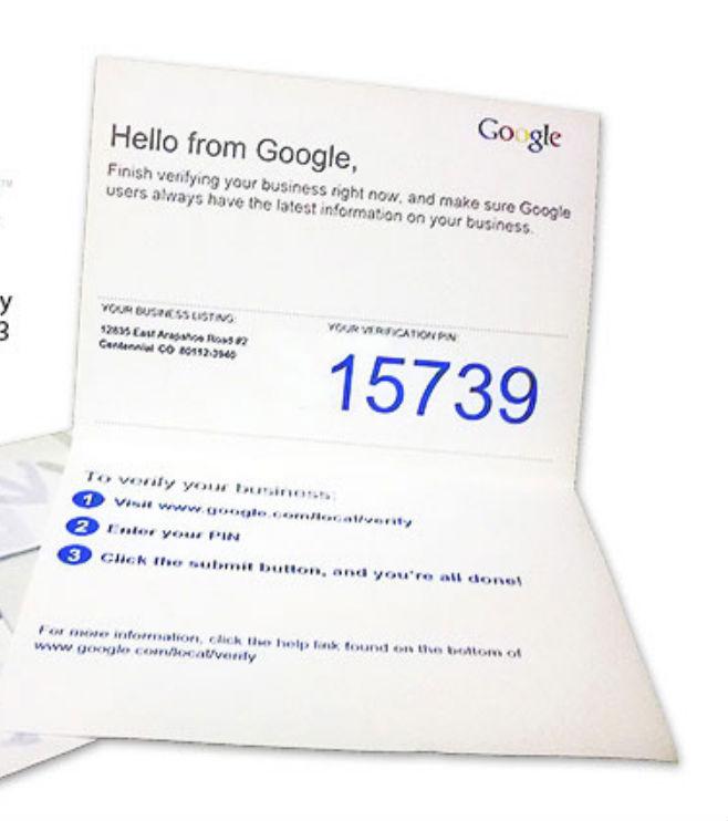 Google verification letter