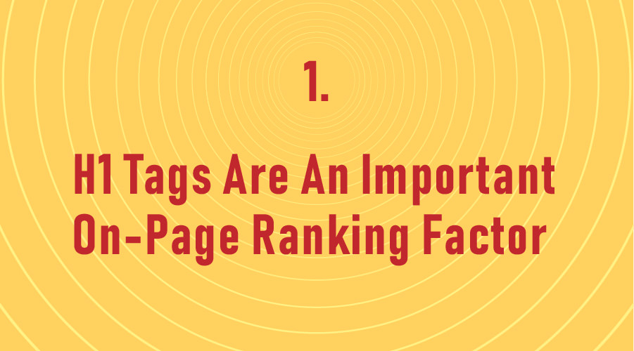 H1 Tags Are An Important On-Page Ranking Factor