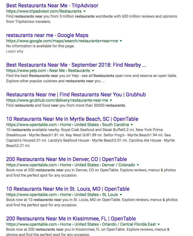Business listings SERPs